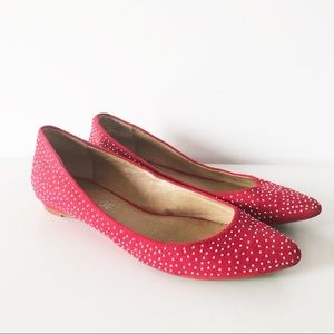 Aldo red suede flats shoes with silver stods